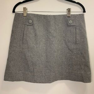 J. Crew Mini Wool Skirt With Button Grey Size 4